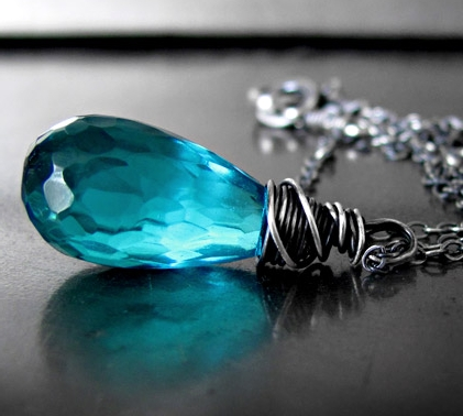 Aqua Teardrop Necklace by Shy Siren