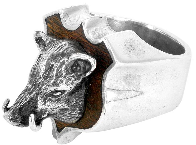 Sterling silver boar ring