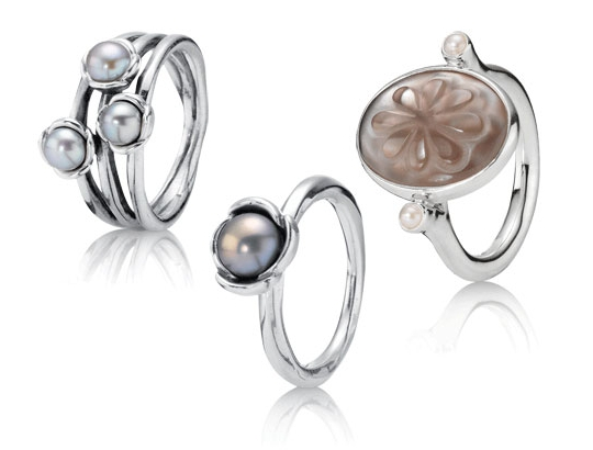 Pandora Silver Mother of Pearl Rings
