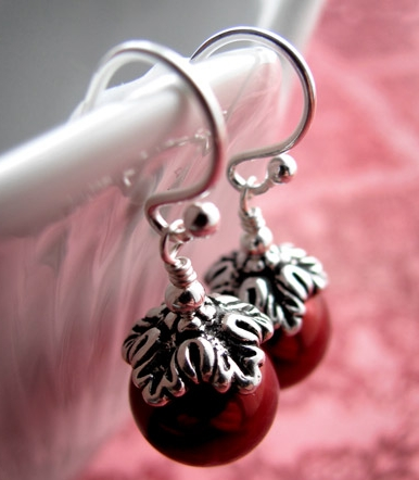 Red Glass Pearl Silver Earrings