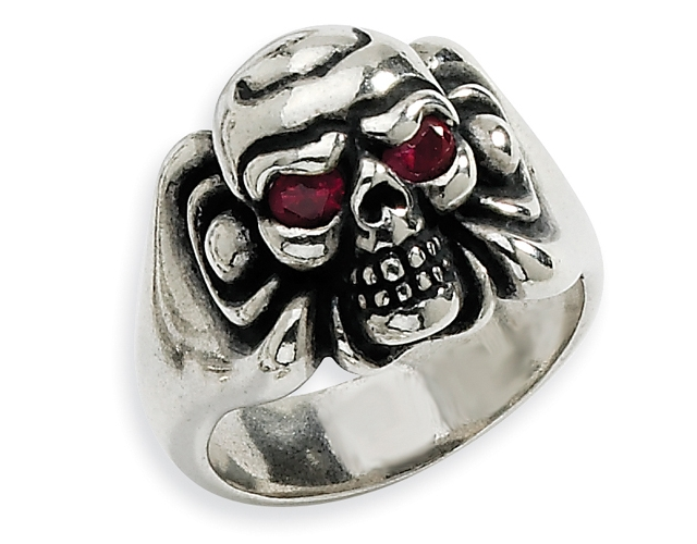 Silver Biker Red CZ Skull Ring