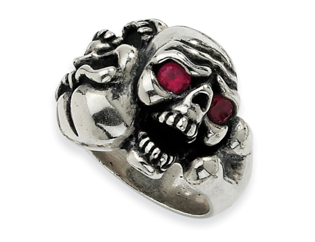 Sterling Silver CZ Skull Ring